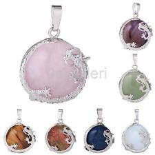 30mm Lucky Dragon Crystal Healing Powers Amulet Gemstone Pendant for Necklace