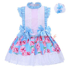 Girls Flower Bow Dress and Headband Set Floral Lace Wedding Party Pageant Formal