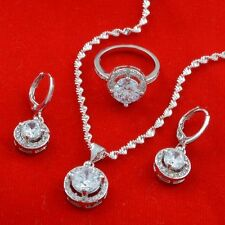 Women 925 Silver White Topaz Jewelry Set Fashion Pendant Necklace Earrings Sets