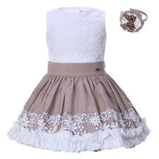 Girls Flower Top and Pleated Skirt Set Headband Floral Embroidered Party Wedding