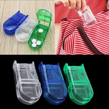 Portable Travel Medicine Pill Compartment Box Case Storage with Cutter Blade UO