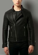 Men's genuine black Cow leather Jacket biker Bomber cowhide Coat = LJ1099