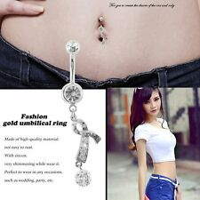 Gold/ White Gold Plated Zircon Navel Rings Sexy Belly Ring Jewelry Fashion ZP