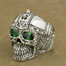 925 Sterling Silver Gothic Tattoo Skull Ring Green CZ Eyes Biker Style 9G505D