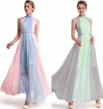 Womens chiffon Evening Party Prom Formal Cocktail Color Contrast Maxi long Dress