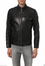 Men's genuine black Cow leather Jacket biker Bomber cowhide Coat = LJ1298