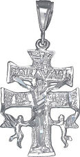 Sterling Silver Caravaca Cross Pendant Necklace Diamond Cut Finish with Chain