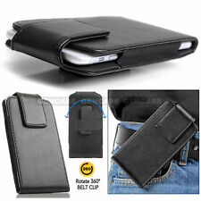 NEW LEATHER VERTICAL 360° SWIVEL HOLSTER BELT CLIP POUCH CASE CELL PHONE COVER