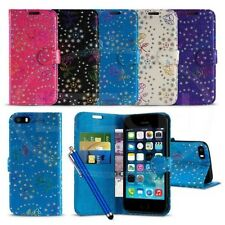 Apple iPhone 5 / 5S - Textured Diamond Flower Wallet Case Cover with SP &Pen