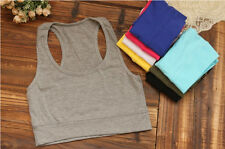 Tank Sleeveless Yoga Athletic Tube Sport Bra Cropped 1PC Top Hot Racerback