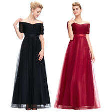 New Elegant Prom Dresses Off-the-shoulder Tulle Evening Bridesmaid Formal Gowns