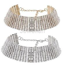 Women Faux Diamond 10 Rows Crystal Rhinestone Choker Necklace Wedding Jewelry