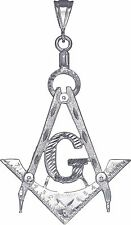 Large Sterling Silver Masonic Symbol Square and Compass Charm Pendant 3.5 Inches