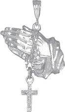 Sterling Silver Praying Hands with Rosary Cross Pendant Necklace 24 Inch Chain