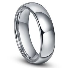 8mm Ladies Tungsten Carbide Shiny Polished Plain Domed Wedding Band Ring Size 5