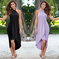 Women Halter Sleeveless Long Maxi Evening Party Dress Summer BOHO Beach Sundress