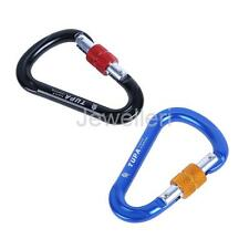 25KN D-Shape Carabiner Climbing Snap Hook Rappelling Caving Screwgate Protection