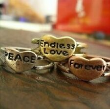 NEW Heart Endless Love Forever Peace Silver Gold Bronze Ring Band Wrap Jewelry