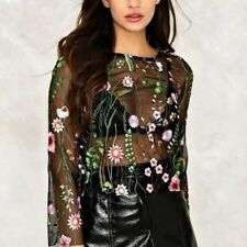 New Womens Sexy See Through Premium Floral Embroidered Mesh Blouse Tops Shirt SM