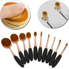US Professional 10pcs Toothbrush Foundation Eyebrow Makeup Oval Powder Brushes