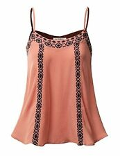 Doublju Sleeveless Embroidered Bohemian Blouse Top DEEPPEACH M