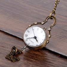 Vintage Style Glass Ball Steampunk Pocket Quartz Watch Antique Brass Necklace
