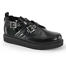 Demonia Creeper-615 Black Leather Buckle Shoes - Gothic,Goth,Punk,Black,Buckle