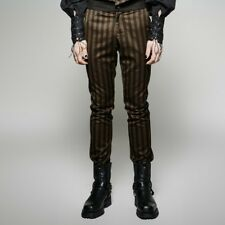 Punk Rave Brassworks Men's Steampunk Brown & Black Pinstripe Pants [Special Orde