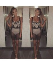 BLACK OVER NUDE MESH BODYCON DRESS WITH BUILT IN BODYSUIT BOUTIQUE PARTY CELEB