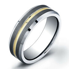 7mm Men Tungsten Carbide MATTE Center With Gold Plated Grooved Wedding Band Ring