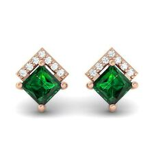 Green Emerald FG VVS Diamonds Princess Gemstone Stud Earrings 10K Solid Gold