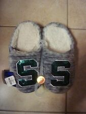 VICTORIAS SECRET PINK BLING MICHIGAN STATE SPARTANS MARLED SLIPPERS NWT