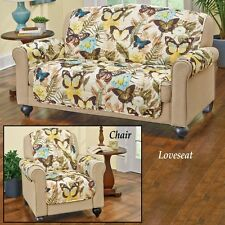 Furniture Covers Butterfly Design Chair Loveseat Quilted Beige Brown Yellow Blue