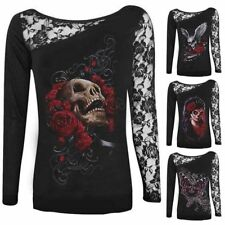 3D Skull Long Sleeve Sexy Womens Lace Patchwork Blouse T-shirt Casual Tops Tee