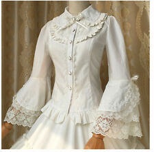 Vintage Victorian Lolita Gothic Princess Retro Lace Flare Sleeve Shirt Blouse A