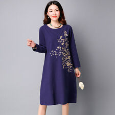 Women's Fashion Linen Cotton Long Sleeve Embroidery Print Swing Dress Skirt
