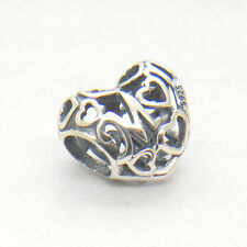 Mother's day gift Authentic S925 Sterling Silver Openwork Mum Love Heart Charm