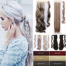 Mega Long Pony tail Clip in Hair Extension Blonde Real Thick Wrap on Ponytail US