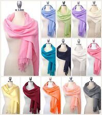 NEW Women Classic PASHMINA Style Cashmere Wool Shawl Soft Scarf Wrap Solid Color
