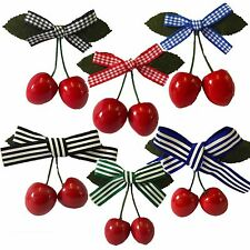 Retro Cherry Hair Clip Gingham Stripe Rockabilly PinUp Vintage Black Blue Red