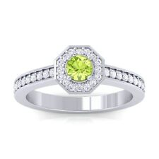Green Peridot GH VVS Gemstone Diamond Engagement Ring Women 14K Solid Gold