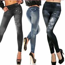 Women Denim Look Leggings Jeans Jeggings Stretchy Skinny Full Length Long Pants