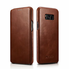 For Samsung Galaxy S8 /S8 Plus ICARER Genuine Real Leather Flip Phone Case Cover