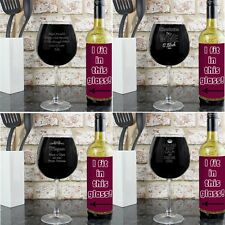 PERSONALISED Engraved Bottle Of Wine Glass Large Glass Holds A Bottle Of Wine