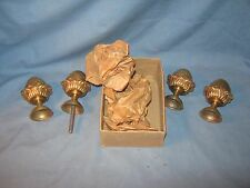 LOT OF 4 LAMP FINIAL S Vintage Polished Brass Acorn / PINEAPPLE