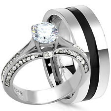 2 PC His Hers Round CZ Engagement Wedding Promise Ring Set Stainless Steel Band