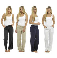 LADIES COOL CASUAL LINEN LONG TROUSERS SUMMER VARIOUS COLOURS NEW SIZES UK 10-18