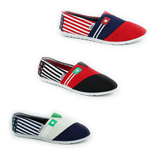 NEW WOMENS LADIES FLAT SLIP ON CANVAS PUMPS PLIMSOLLS TRAINERS SHOES SIZE 3-8
