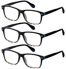 3 Pair Lot Spring Hinge Tortoise Blue Reading Glasses Strength Men Women Pack
