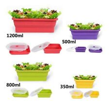 4/1Pcs Folding Food Grade Silicone Collapsible Bento Boxes Storage Container Lot